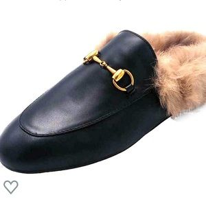 Black Furry Loafers